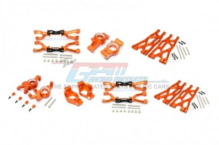 ALUMINUM FRONT&REAR UPPER+LOWER ARMS+FRONT C HUBS+FRONT KNCUKLE ARMS SET FOR X-MAXX -92PC SET ORANGE